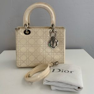 Auth Dior Medium Lady Cannage Patent Leather Bag